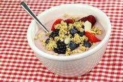 White bowl with cherry yogurt Royalty Free Stock Photography