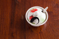 White bowl with chicken screen. Thai style only stock image