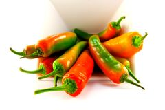 White Bowl of Chillis Stock Image