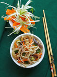 White bowl with Chinese noodles Royalty Free Stock Images