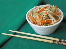 White bowl with Chinese noodles Stock Images