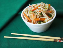 White bowl with Chinese noodles Stock Photo