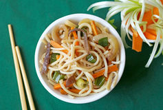 White bowl with Chinese noodles Stock Image