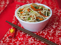 White bowl of Chinese noodles Royalty Free Stock Photo