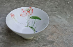 White bowl for chinese puer or green tea Royalty Free Stock Photos