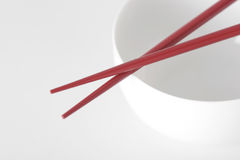 White bowl and chopsticks Stock Photo