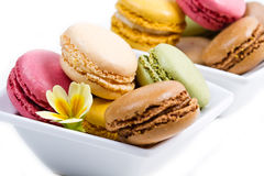 White bowl with colored macaroons. A white bowl with colored macaroons Stock Photo
