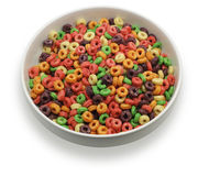 White bowl with colorful cereal Royalty Free Stock Photo