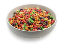 White bowl with colorful cereal Royalty Free Stock Photography