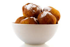 White bowl Dutch oliebollen Royalty Free Stock Photos