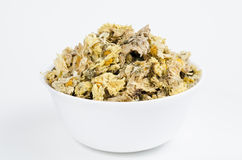 White bowl filled with dried chrysanthemum flowers Stock Images