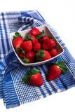 White Bowl Filled with Fresh Ripe Strawberries Stock Photo