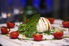 White bowl of fresh and healthy Mediterranean salad with mozzarella cheese, tomatoes and basil leaves. Stock Photography