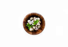White bowl with fresh quail eggs Stock Image