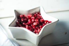 White bowl with fresh ripe pomegranite seeds Royalty Free Stock Image