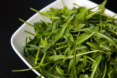 White bowl of fresh rocket salad. White bowl of fresh organic rocket salad leaves Royalty Free Stock Photography