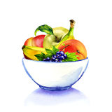 White bowl with fruits, isolated Royalty Free Stock Photos