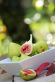 White bowl full of green figs Royalty Free Stock Photo