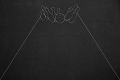 White bowl game drawing on a dark chalkboard Royalty Free Stock Images