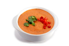 White bowl of gaspacho soup Royalty Free Stock Photography
