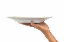 White bowl on hand Stock Photos
