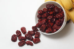 White Bowl Of Dried Red Dates Stock Images