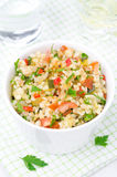 White Bowl Of Salad With Bulgur, Zucchini, Tomatoes And Parsley Stock Photo