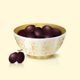 White bowl with plums shadow and reflection Royalty Free Stock Photography