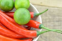 White bowl with red hot chili peppers and lemon, detail royalty free stock photo