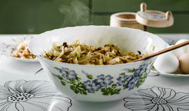 White bowl with roasted cabbage for pies Royalty Free Stock Photo