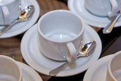 With white bowl and saucer spoon. cup Royalty Free Stock Photography