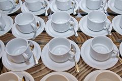 With white bowl and saucer spoon . cup Royalty Free Stock Image