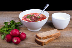 White Bowl of soup - borsch with parsley radish and bread Royalty Free Stock Images