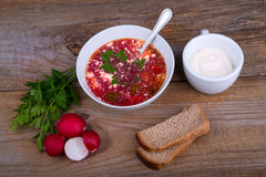 White Bowl of soup - borsch with parsley, radish and bread Stock Photos