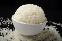 White bowl with steamed rice Stock Photos
