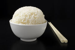 White bowl with steamed rice Stock Photo