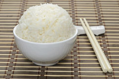 White bowl with steamed rice Stock Image