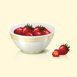 White bowl with strawberries shadow and reflection Royalty Free Stock Photo