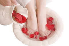White bowl woman feet Stock Images