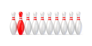 White bowling pins lined and red one. 3D. Render illustration isolated on white background Stock Photos