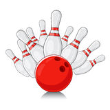 White bowling splits red ball Royalty Free Stock Photography