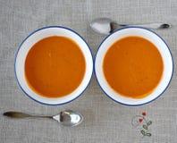 White bowls with creamy tomato soup Royalty Free Stock Photo