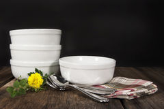 White Bowls Rustic Surface Stock Photos