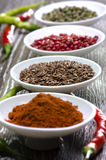 White bowls with spices Royalty Free Stock Photography