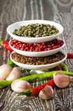 White bowls with spices Royalty Free Stock Images