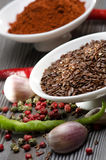 White bowls with spices and garlic Stock Image