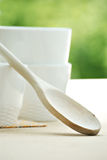 White bowls and spoon Royalty Free Stock Photography
