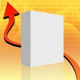 White box. White blank box on orange background stock illustration