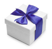 White box anf blue bow and ribbon.  Stock Image