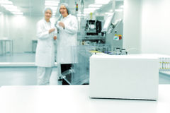 White box at automated production line Stock Photography